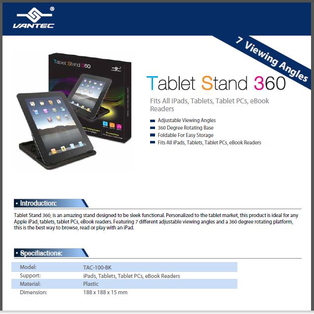 eBook Readers Vantec Stand 360 Fits All iPads Tablets Tablet PCs